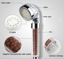 Stone Negative Ion 7 Color Flash Changing LED Bathroom Shower Head & Easy To Install With Built In Water Filter