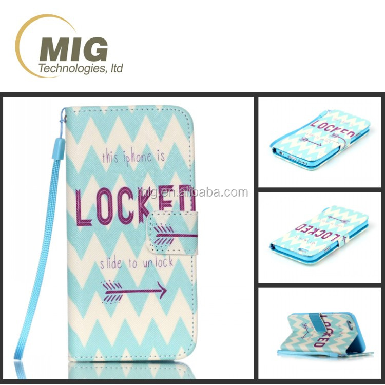 IMD Color painting PU leather lanyard wallet for samsung galaxy s6 s5 cell mobile phone case, phone case for s4 s3 s6 edge +