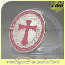 2016 newest product metal silver cross coin with soft enamel