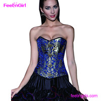 Gold Brocade Printed 12 Fishbone Overbust Sexy Gothic Corset Lingerie