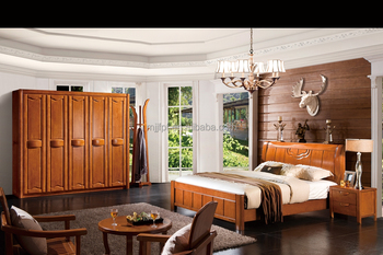 Modern solid wood bedroom furniture double bed design 8103