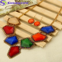 Colorful Alibaba New Fashion Jewellery Elegant Antique Necklace and Earring Jewelry Sets for Women