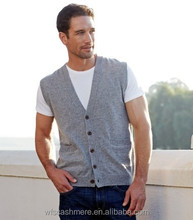 2016 Collection Genteel Grey Sleeveless Button up Cardigan Jumper Cashmere for men