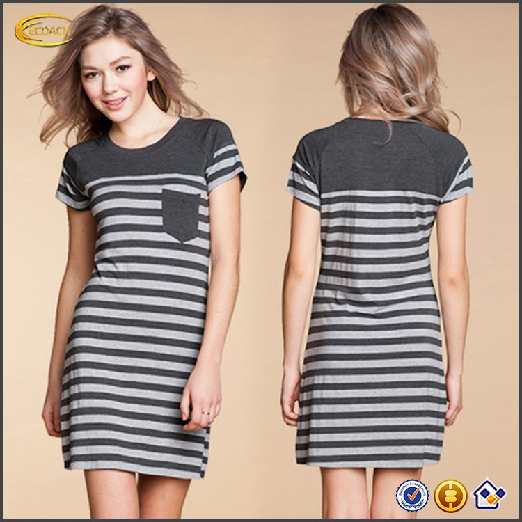 Ecoach Wholesale OEM Crew Neck Short Sleeve Deep Gray Striped Trendy Model Fabric Delicates Sleepwear For Women