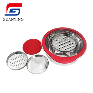 Stainless Steel Salad Basin Mixing Bowls with Grater set on the lid