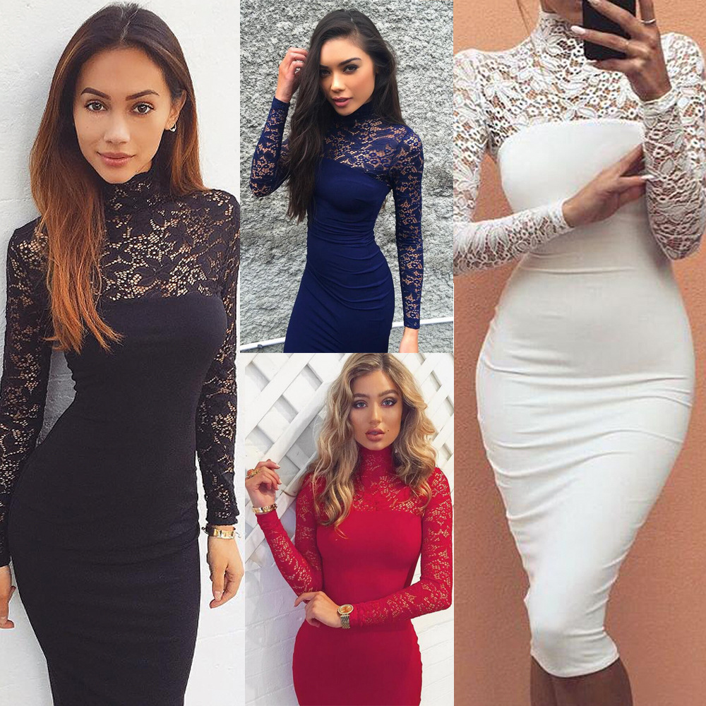 Barlaycs Sexy Lace Women Long Dress 2017 Summer Style Casual Long Sleeve O neck Slim Dresses White Black Vestidos