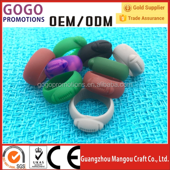Factory cheap price custom design embossed logo wedding silicone rubber finger ring with any colors on pantone sheet