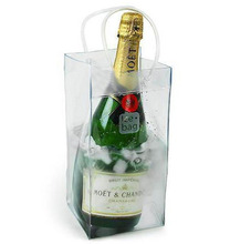High quality transparent freezer PVC wine bottle bag for cooling
