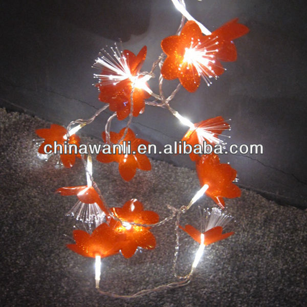 Holiday lighting, Christmas lights LED, string light with fiber flower decoration