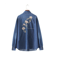 Women sweet floral embroidery denim shirts long sleeve loose blouse turn down collar blusa female casual streetwear tops