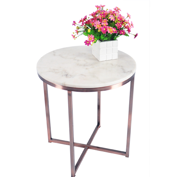 "Living Room <strong>Furniture</strong> 20"" Coffee Table X-Base -Chinese Natural Marble/ Rose Gold"