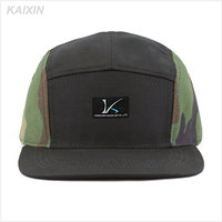 custom digital printing camo 5 panel camp hat woven label 100% polyester camouflage 5 panel cap hat