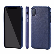 Premium PU Leather Thin Slim Cellphone Case Cover with Protective TPU Bumper for Apple iPhone X