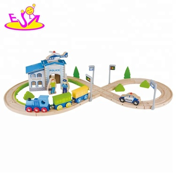 New arrival educational 55 PCS wooden toy trains for kids W04C160