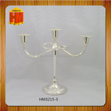 hot sale silver plated wedding decoration candle stick 3 arm with stone
