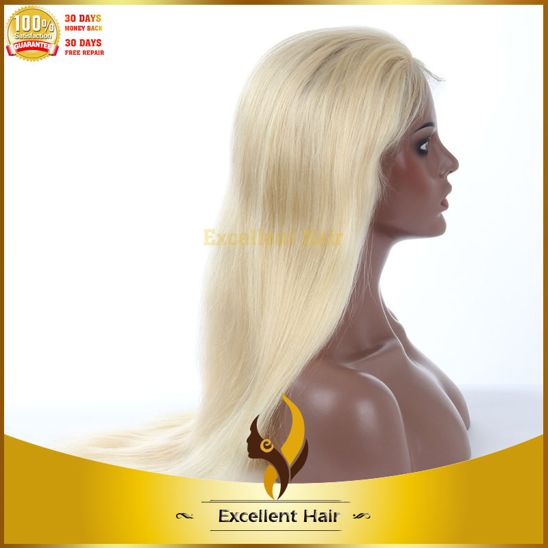 Hot selling chinese virgin human hair blonde lace front wigs best quality straight human hair blonde lace front wigs