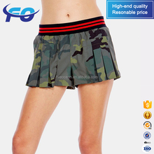 Wholesale Custom Khaki Camo Printed Front Pleat Sweat Sports Running Women Camouflage Shorts