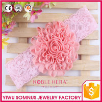 Handmade Baby elastic Headbands WITH lace Shabby chiffon flowers and satin ribbon H029