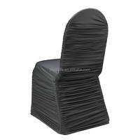 Black Ruched Stretch Cheap Spandex Chair Cover