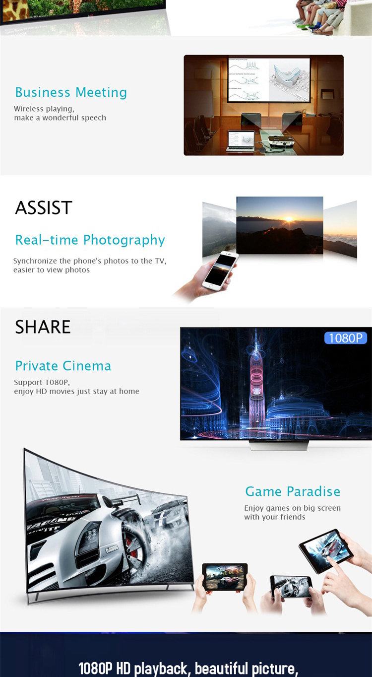 Deft design Q1 miracast led monitor adapter google cast supports IOS and Android system