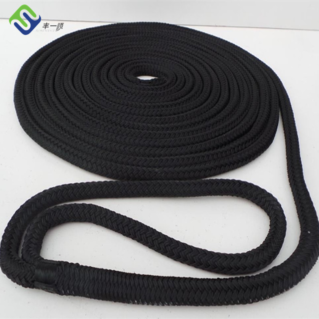 Black braided nylon dock line 10mm*15m made in Florescence