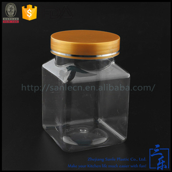 250ml PET clear empty conatiners with lids wholesale custom made square snacks plastic jar