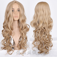 cheap synthetic blonde fashion long curly wig
