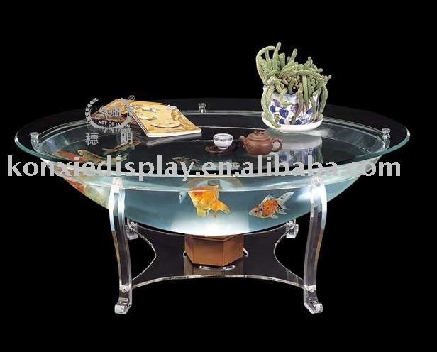 Acrylic end table with fish bowl,hotel,office and restaurant furniture