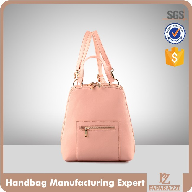 4066-1 Fashion Pink Hand Bag Ladies Saffiano PU School Backpack Custom Backpack Mochila 2017