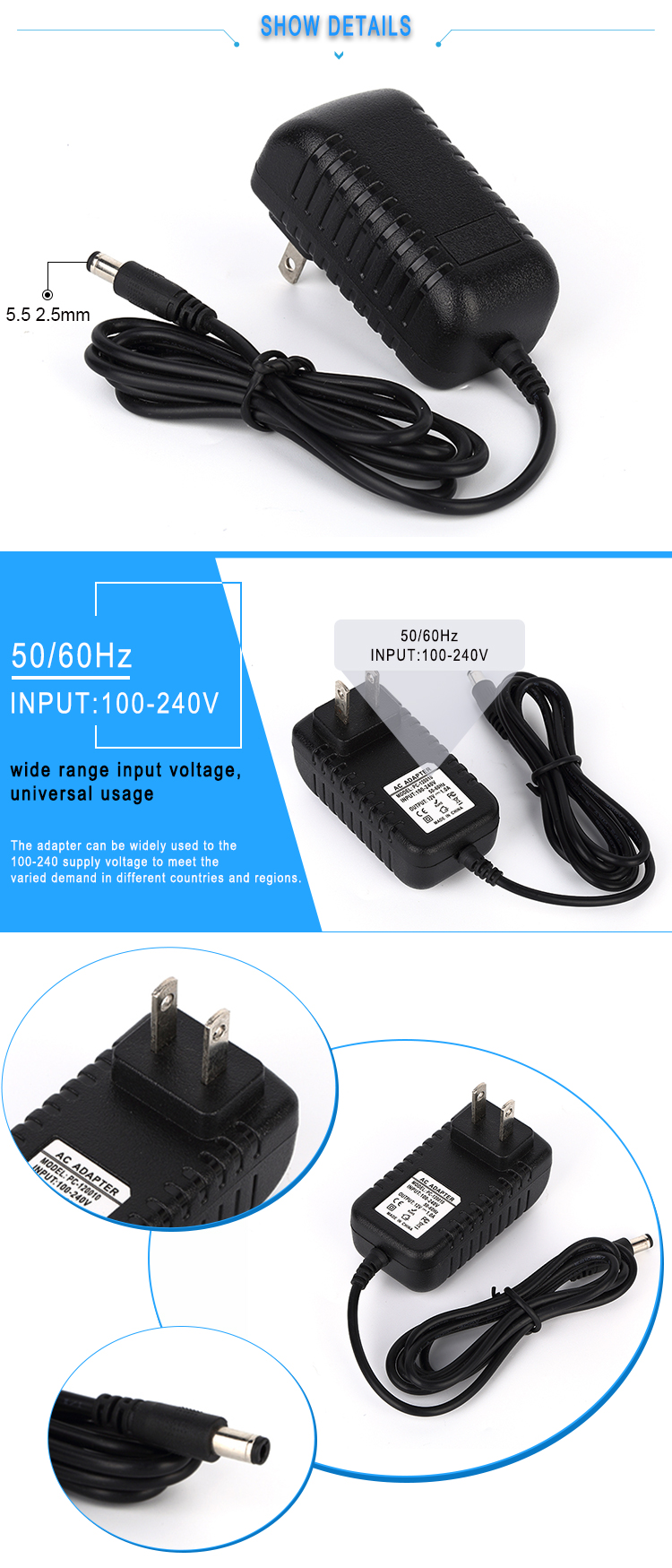 100-240v ac dc 9v 1.5a wall mount US plug power adapter