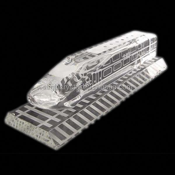 fashion table decoration 3d crystal crafts model gift/crystal train model with railway base