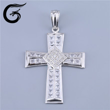 GuoLong wholesale new big cross pendant in silver design imitation cz stone christian products