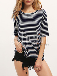 T-shirts latest fashion design women clothing Blue White Stripe Buttons Irregular Hem T-shirt
