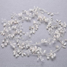 Bouquet Crystal Beaded Wrapped Delicate Tiara Crown Wedding Bridal Hairbands Girls Long Vine Headband Hairpin Hair Accessories