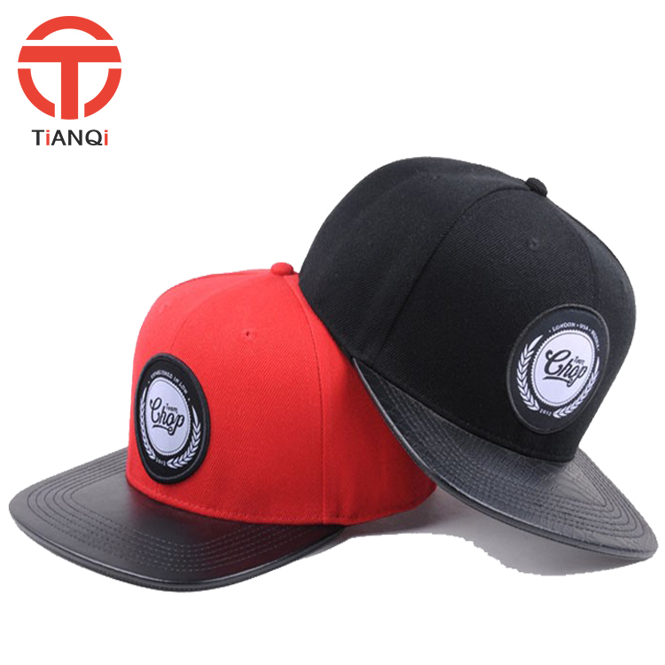 High quality <strong>custom</strong> 6panel leather brim snapback cap hot sell on Alibaba websites