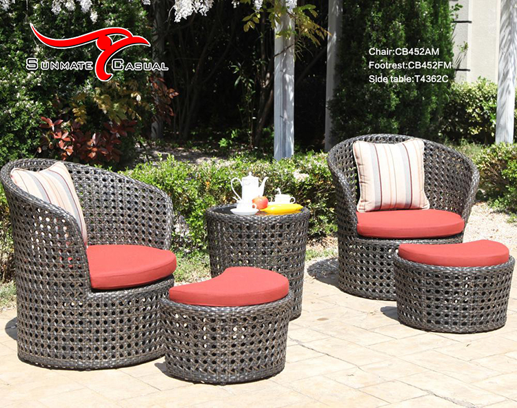 Sunbrella Wicker Rattan Outdoor Furniture Reclining Garden Lounge Sofa Chair Conversation Set with Footrest