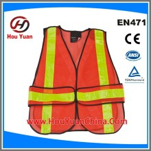 Reflective Safety Vest meet ANSI/ISEA 2010 standard,100%polyester 110G Mesh and PVC Tapes, zipper Adjust, Manufactory Supply