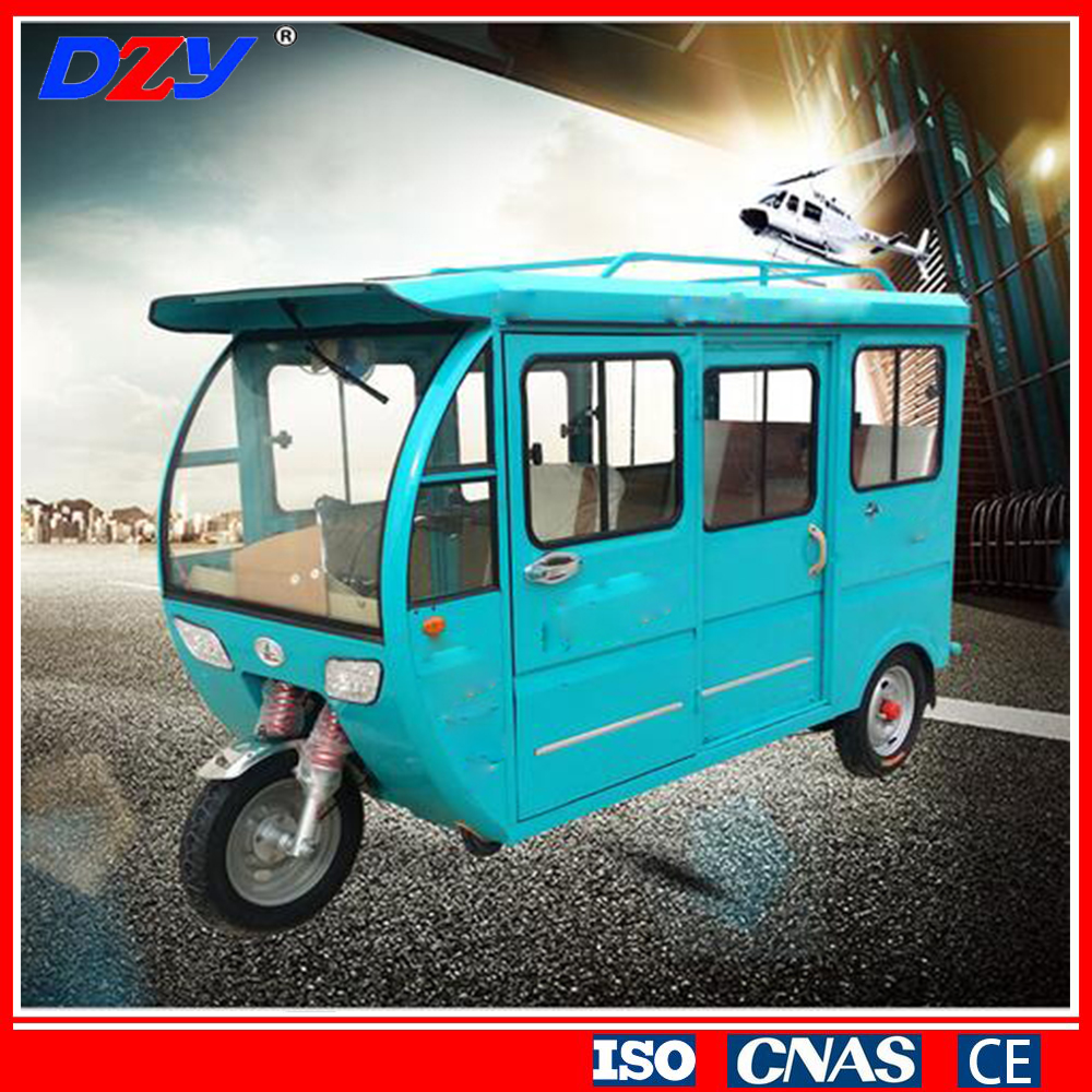 Cargo box closed cabin passenger electric tricycle with 4-6 seats