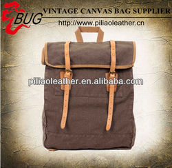 Vintage Canvas Leather Hiking Travel Backpack Fit 17 Inch Laptop