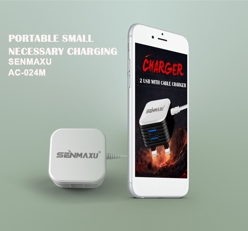 Senmaxu Quickly Charging Cube Mobile Phone Recharger Dual USB With Cable Intelligent Charger AC-024M