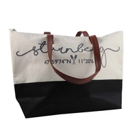 large canvas tote shopping bag leather bag