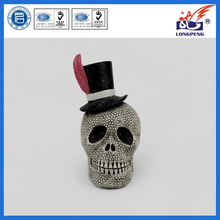 Wholesale halloween party decoration collection spoonky top hat skull statue figurine skeleton,halloween horror heads wholesale
