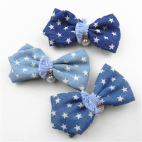 free sample hot sale cotton crystal flower hair barrettes