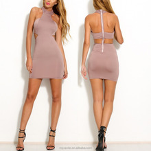 2016 Latest Arrival Bodycon Dresses light pink Halter Neck Design With Rope Neck Soild Elegant Casual Slim Hip Bandage Dress