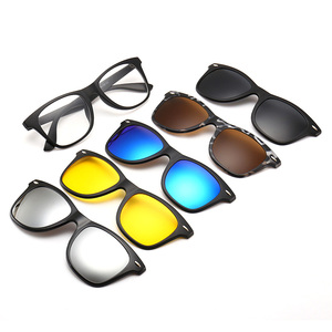 1d4fa6c1f22 2208A Superhot Eyewear 5Pcs Clip-on Sunglasses Polarized Magnetic lens  Plastic Frame Night Driving Glasses