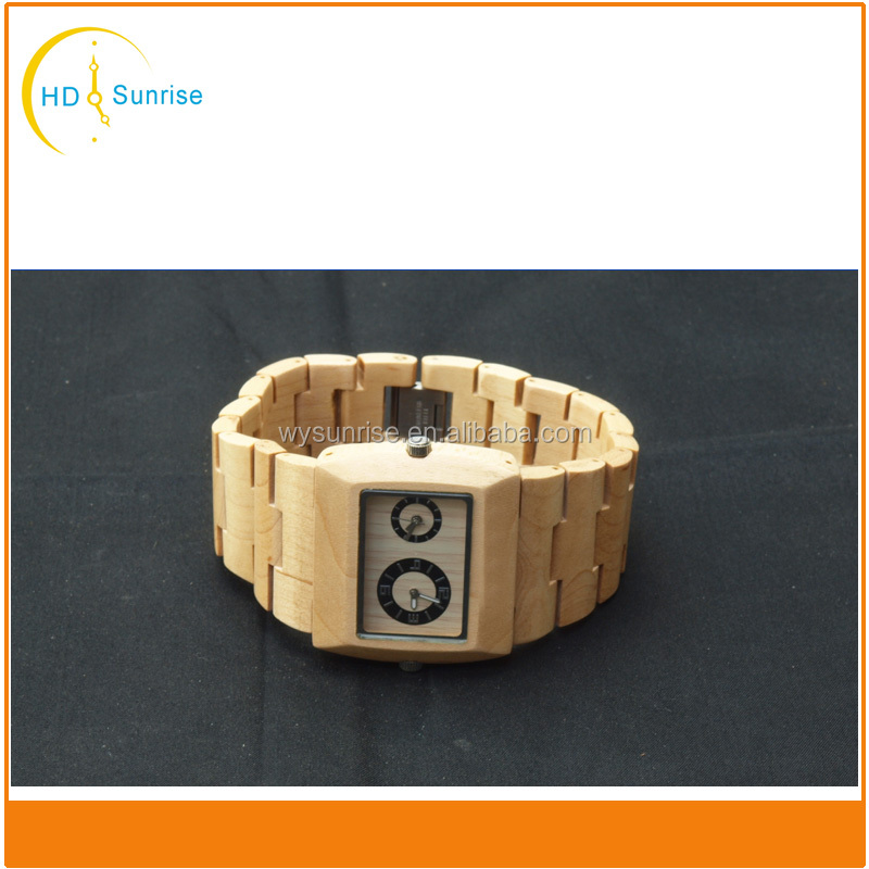 100% Natural stylish square face high quality wood watch