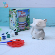 Fox animal bank ceramic painting toy , diy craft kits for adults