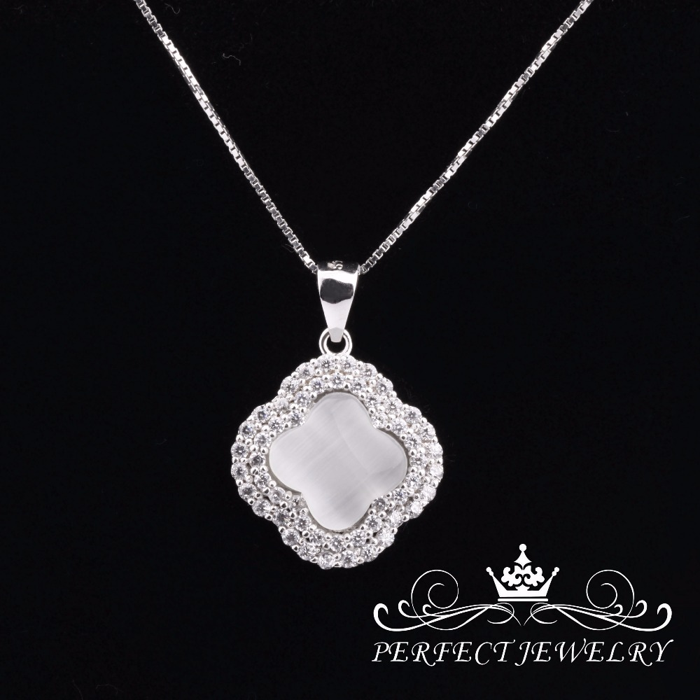 Perfect Jewelry Cat Eye Stone Silver Pendant Necklace for men and women