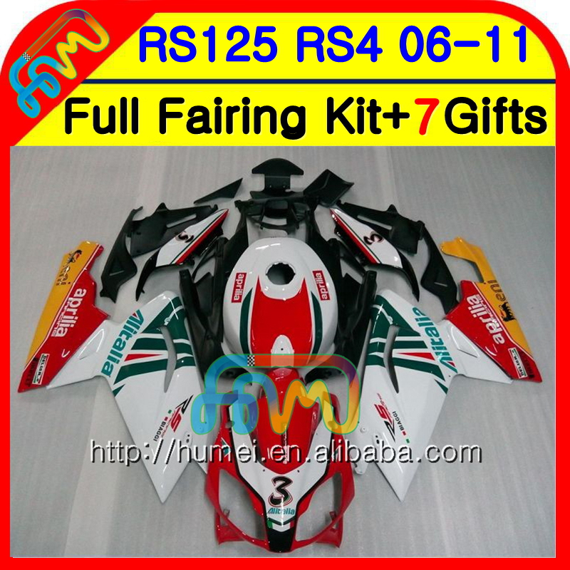 Body For Aprilia RS4 RSV125 RS125 06 07 08 09 10 11 RS-125 17NO.1 RSV RS 125 2006 2007 2008 2009 2010 2011 Fairing Red white hot