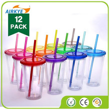 Insulated Plastic Drink Cup Glass w Curly Crazy Straw Travel Tumbler